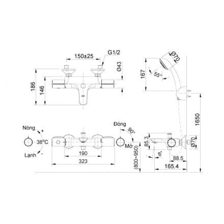 Vòi Sen Tắm Inax BFV-3413T-7C Nhiệt Độ Cao Cấp